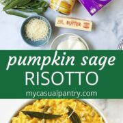 rice, pumpkin, broth and other ingredients with bowl of risotto