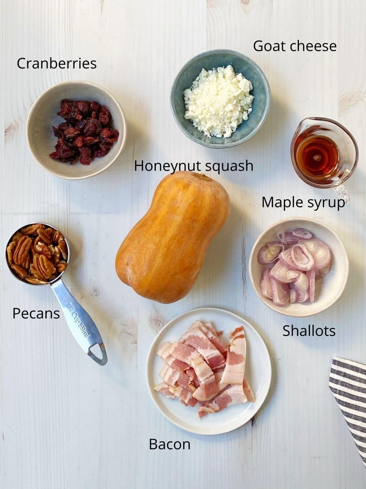 components - cranberries, bacon, pecans, goat cheese, shallots, maple syrup