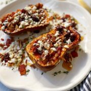 Roasted Honeynut Squash with Cranberries, Pecans and Bacon