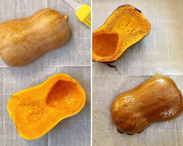 prepped squash before and after baking