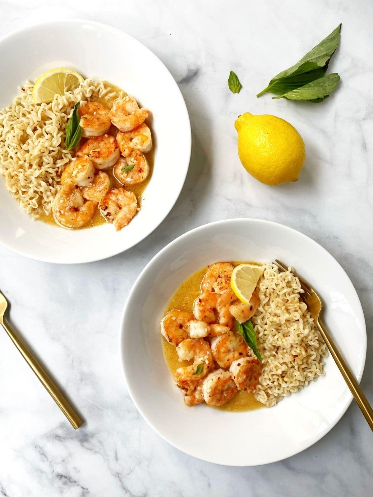 two bowls of lemon garlic shrimp