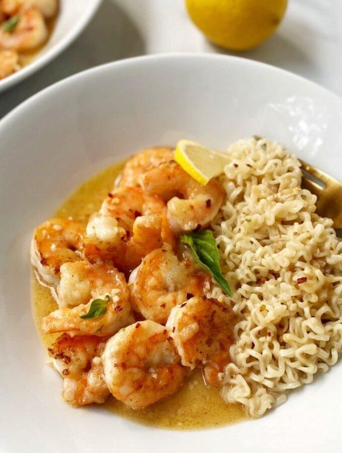 bowl of lemon butter shrimp with ramen