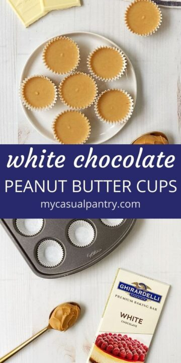 plate of peanut butter cups with muffin pan, chocolate, and spoonful of peanut butter
