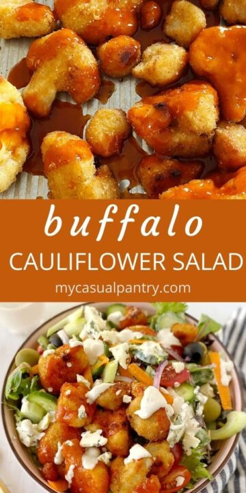 baked cauliflower and bowl of salad