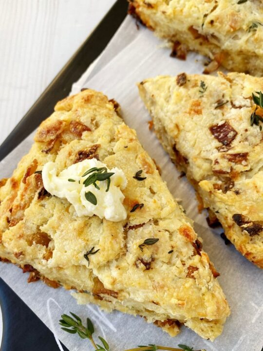 scone topped with thyme butter
