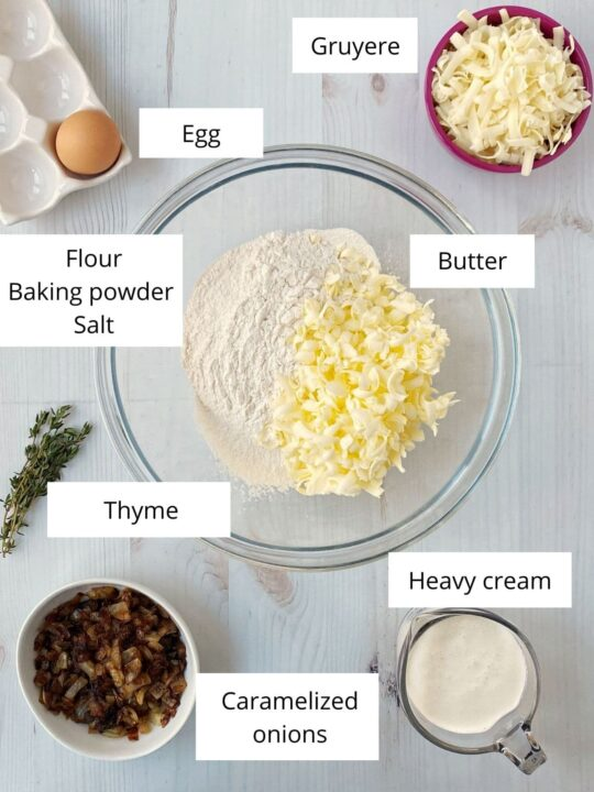 bowls of flour, butter, cheese, onions, cream, and seasonings
