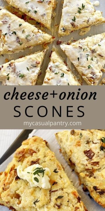 sheet pan of unbaked scones and baked scones on a serving board