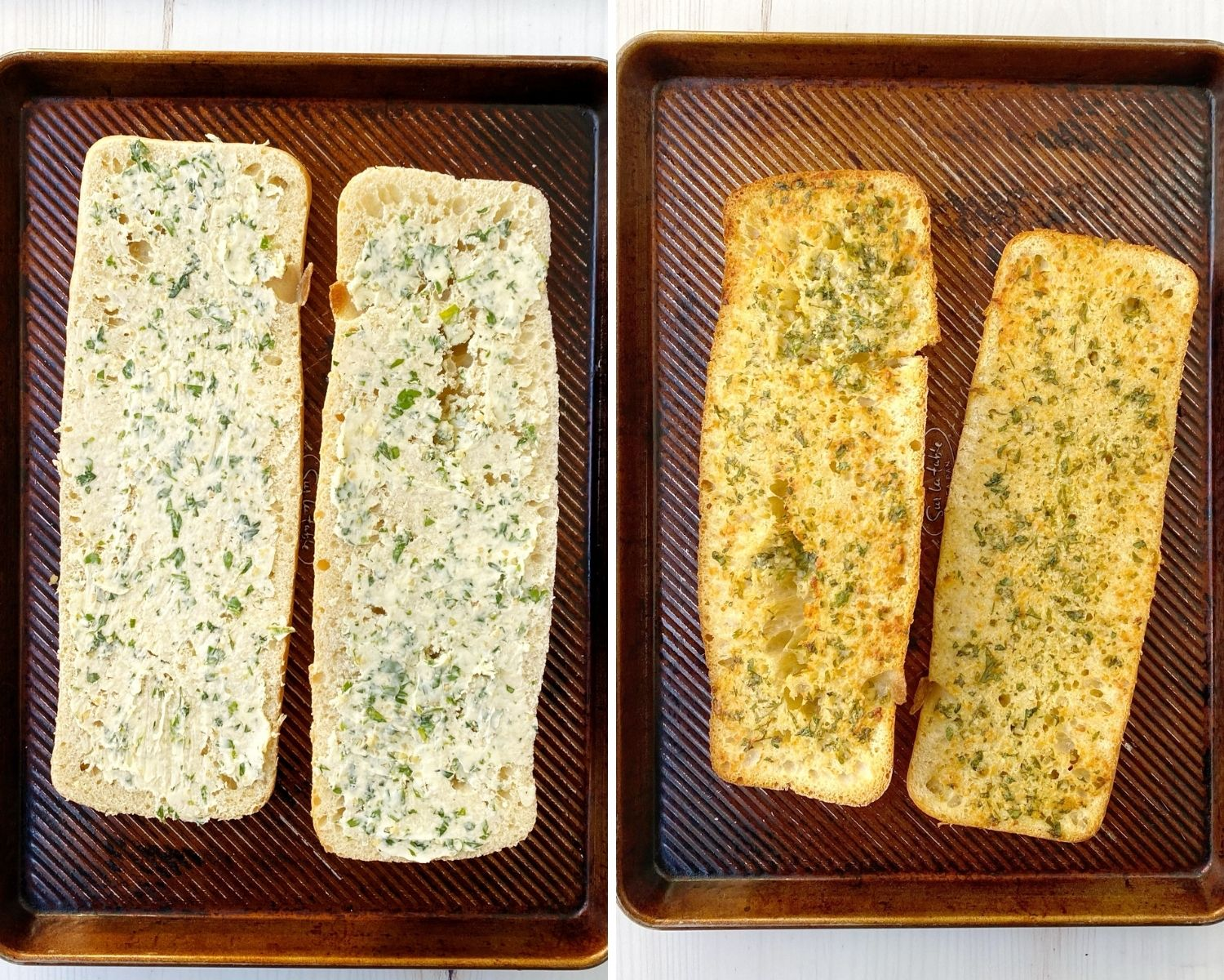 bread with butter garlic spread on left and baked bread on right