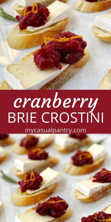 assortment of crostini and a close up of cranberry brie bites