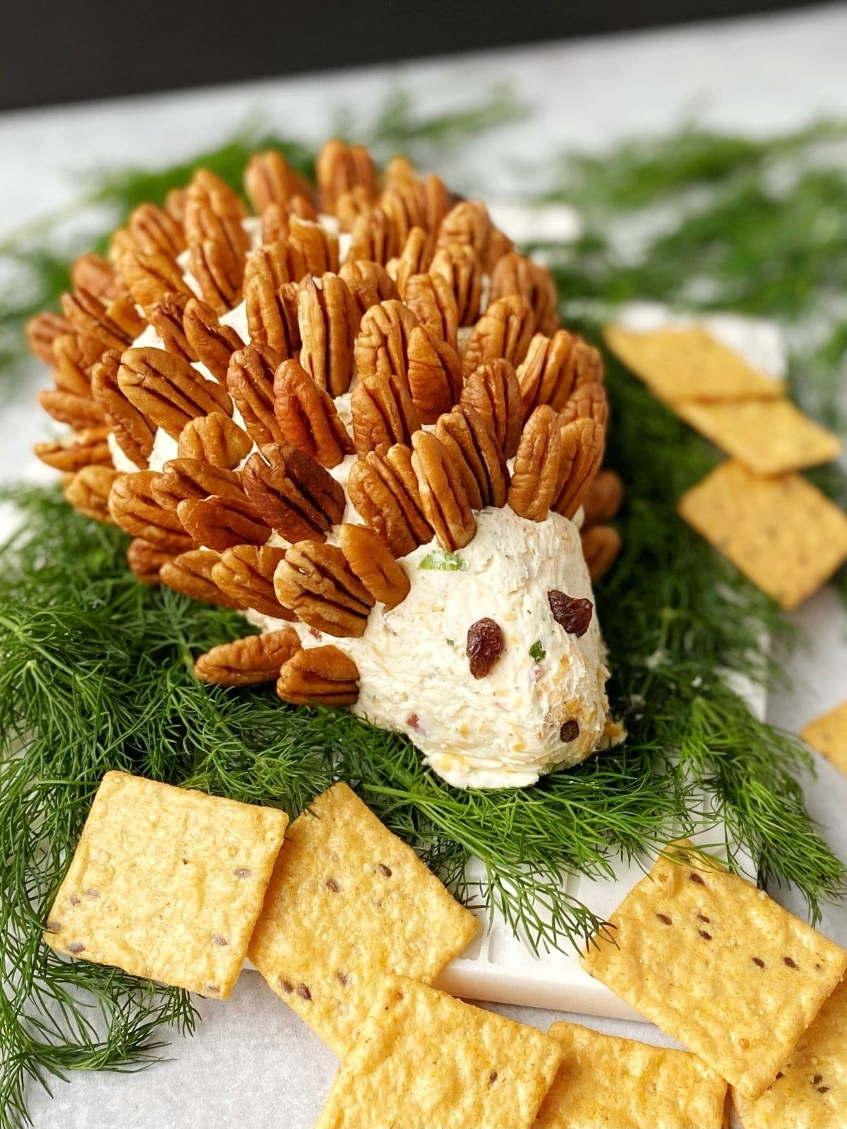 cheeseball sitting on fresh dill with assorted crackers