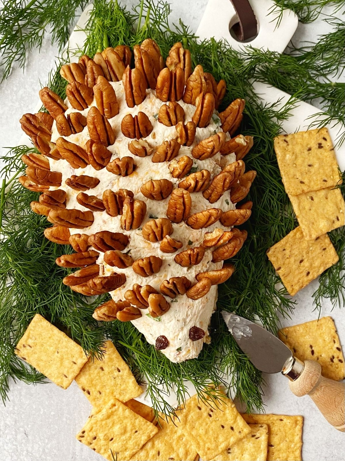 overhead picture of cheese ball on bed of dill with crackers