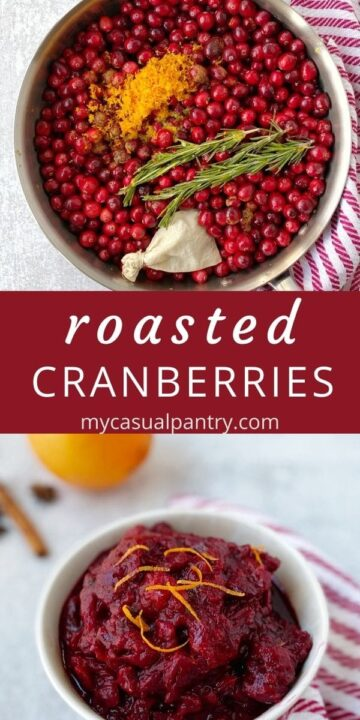 pan of cranberries and seasonings and bowl of cranberry sauce