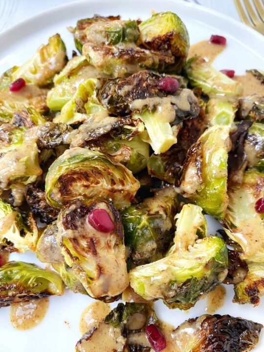 close up of plate of roasted sprouts