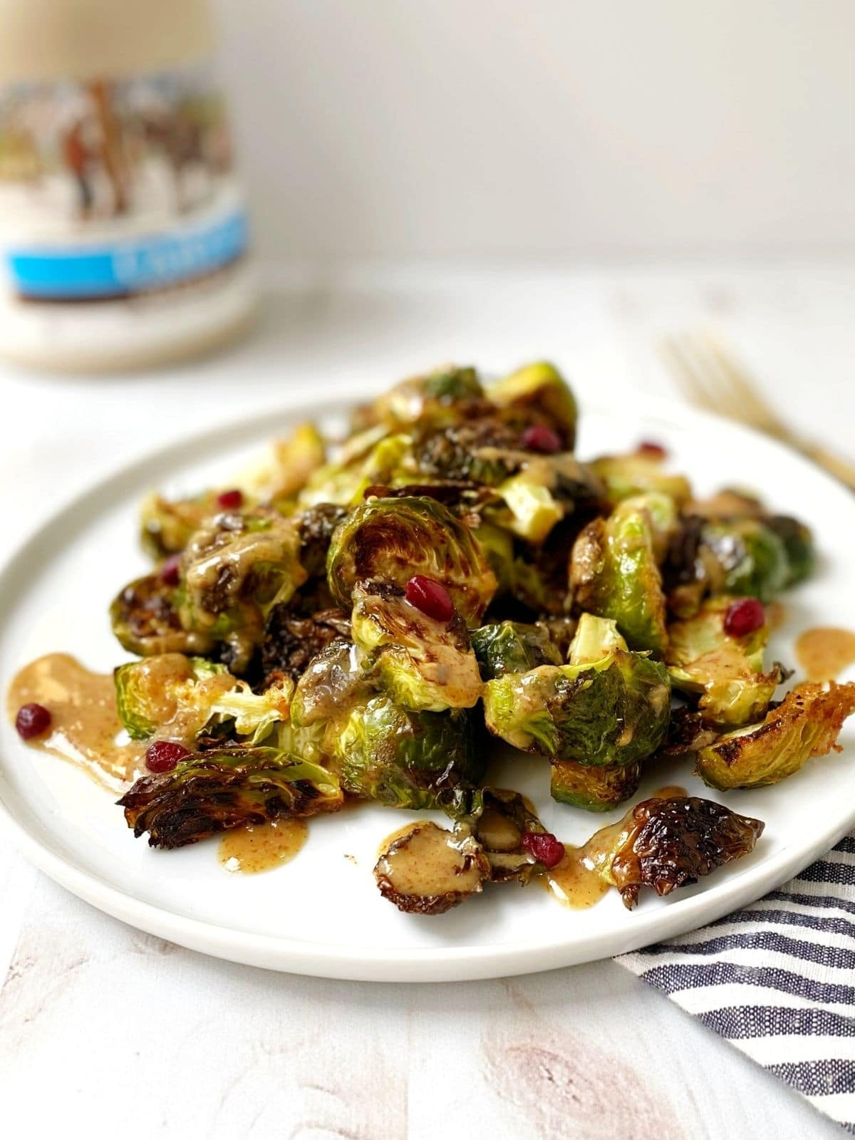 plate of brussels sprouts drizzled with glaze