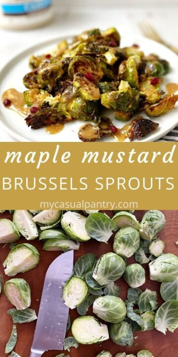 trimmed sprouts and plate of roasted Brussels