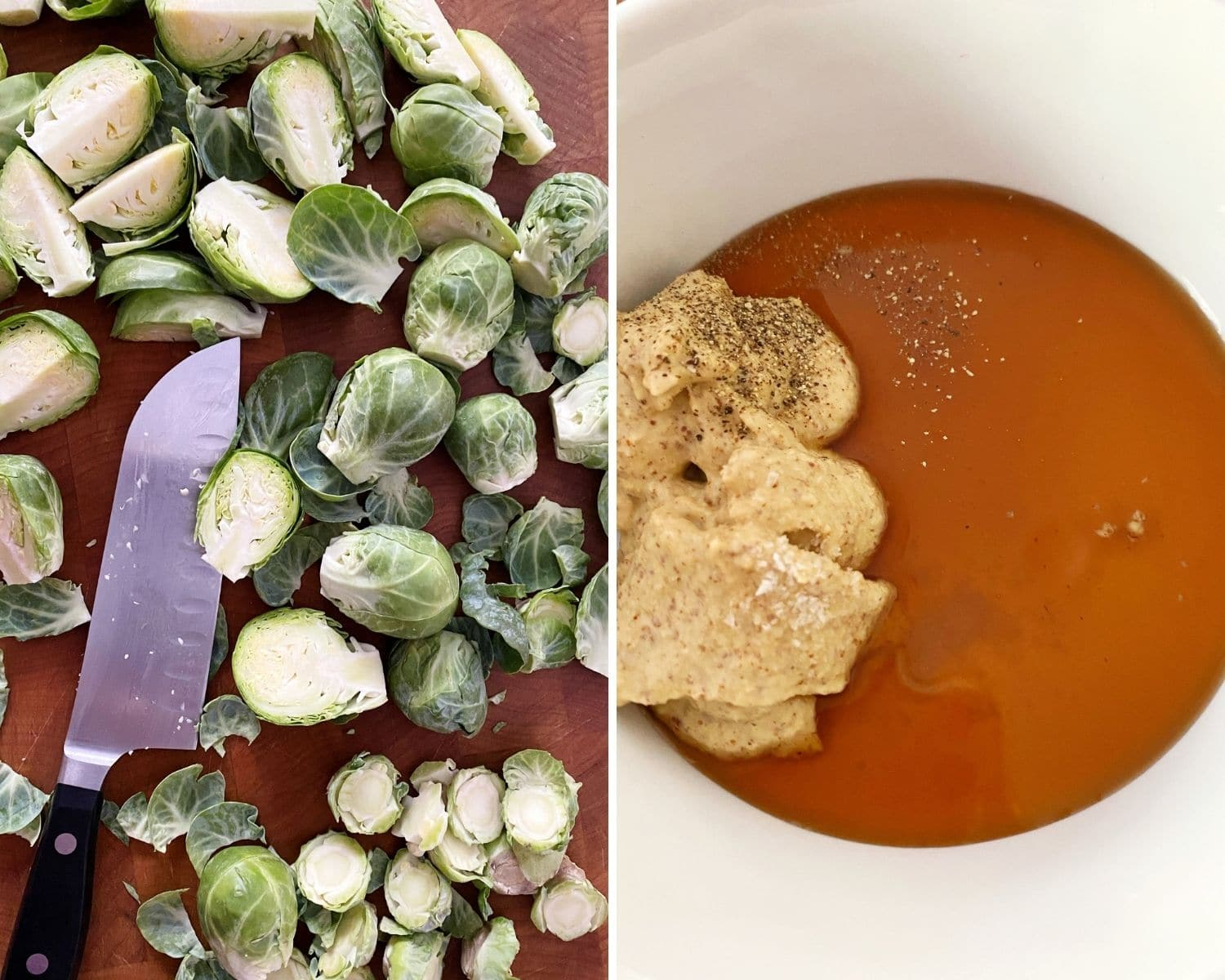 trimmed brussels sprouts and bowl of mustard and maple syrup