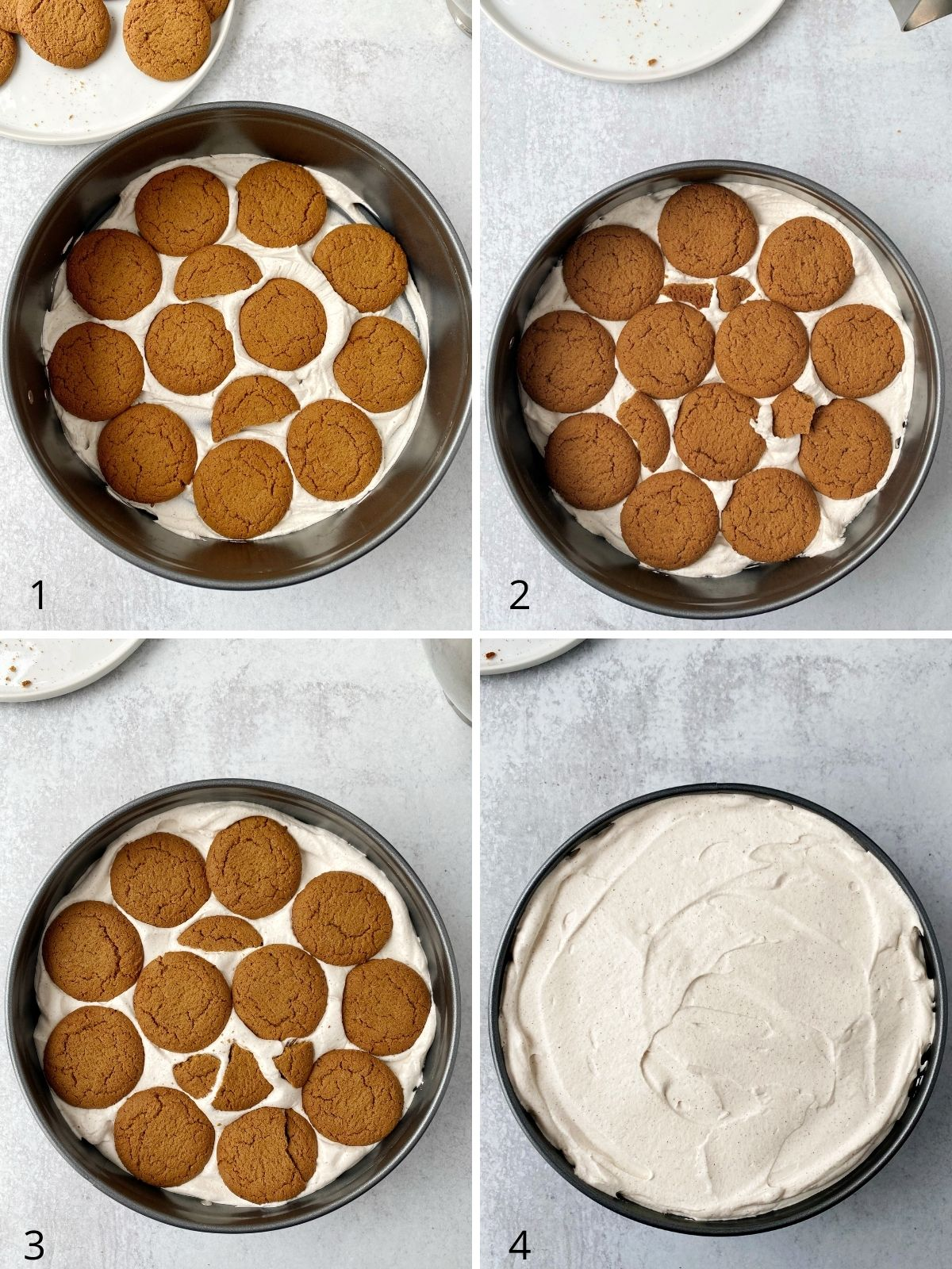 four sequential pictures of layering cookies with whipped cream