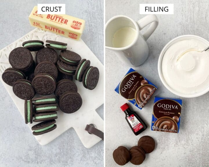 ingredients for crust - butter and Oreos; ingredients for filling - cream, pudding mix, extract, whipped topping, and cookies for garnish