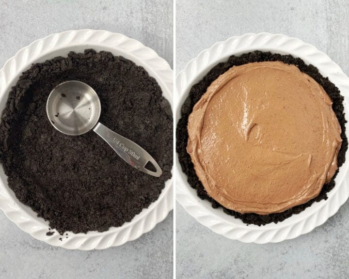 oreo crumbs formed into crust in pie plate; pie plate filled with pudding mixture