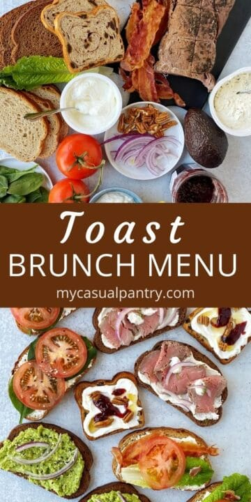 array of brunch toast and toppings and various prepared toasts