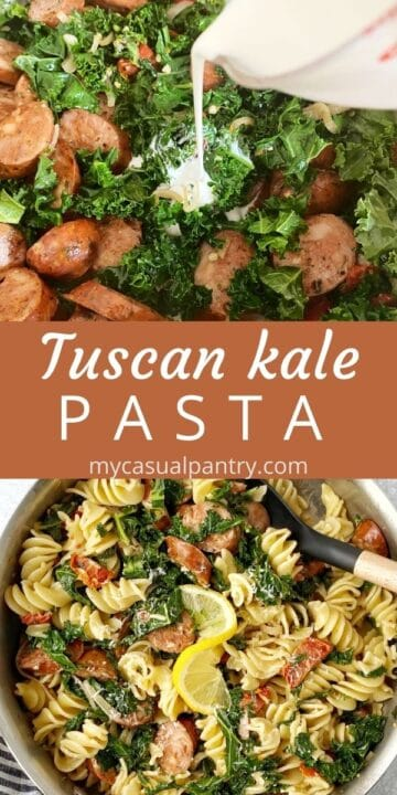 cream added to pan of pasta and skillet of kale pasta