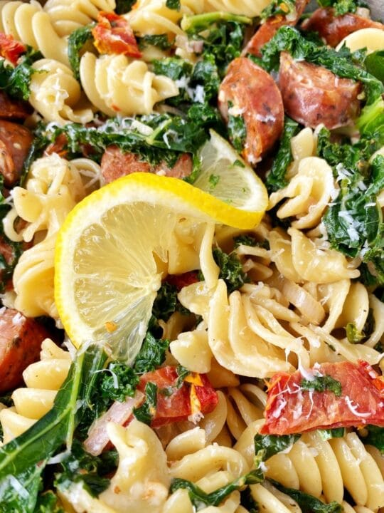 close up of kale pasta