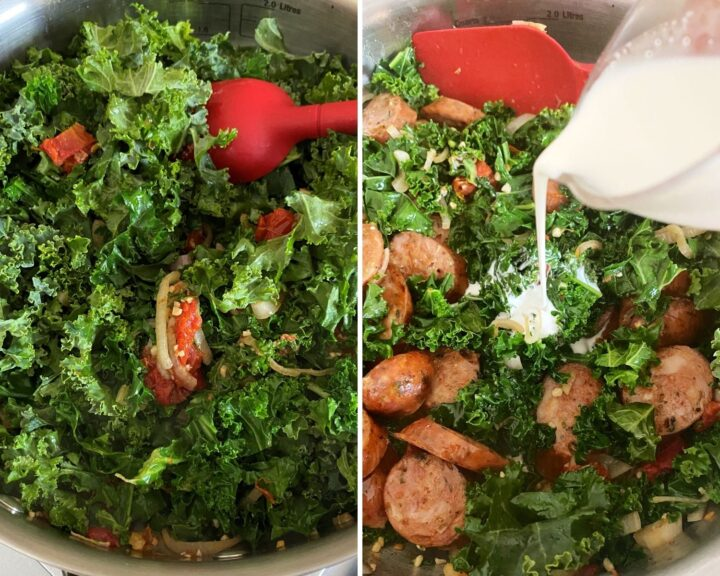 kale and sausage added then shot of cream being added