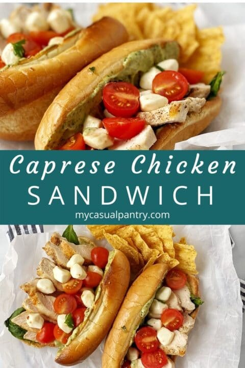 caprese chicken sandwiches on plate with chips on the side
