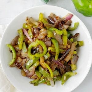 bowl of charred peppers and onions