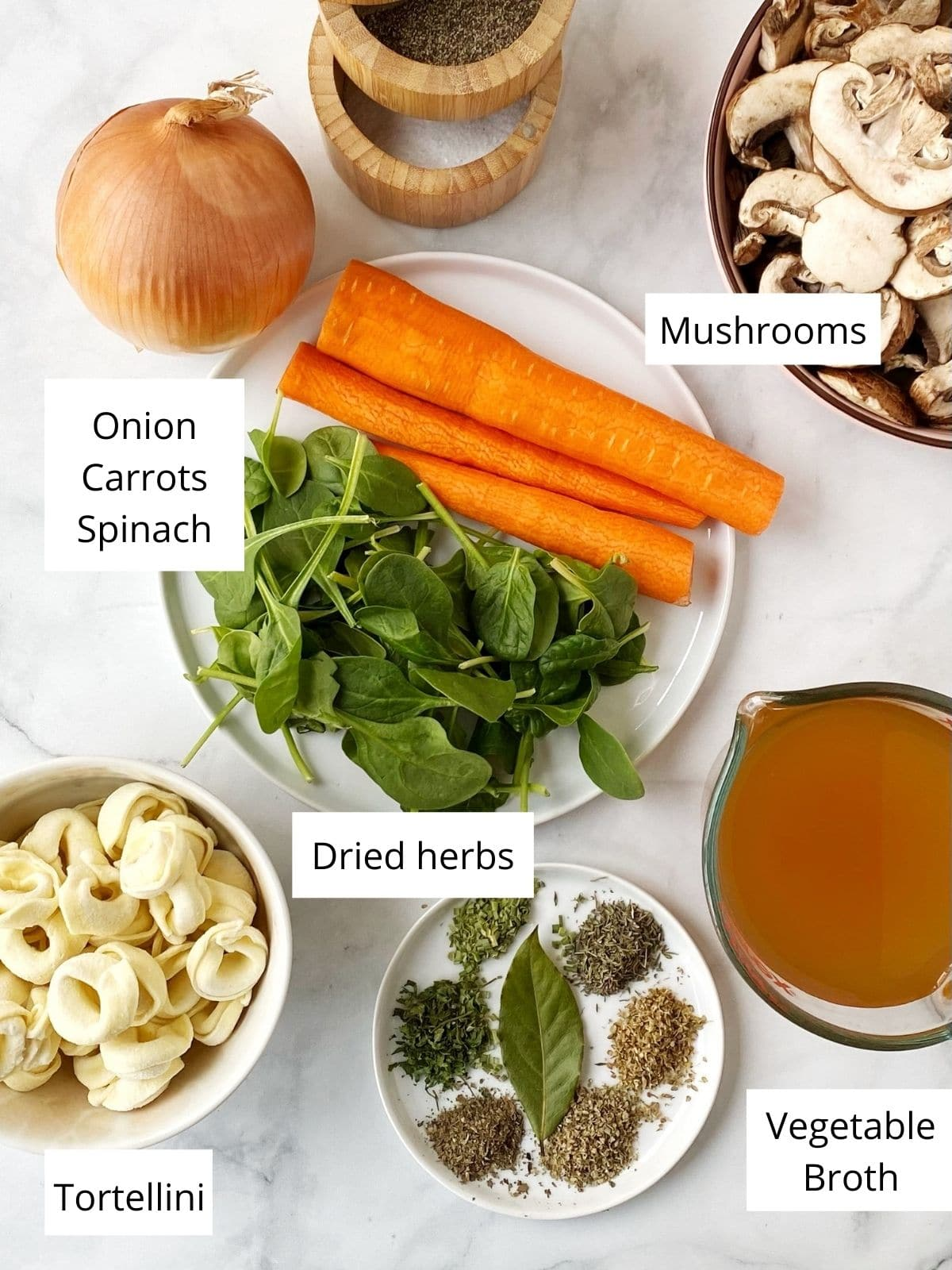 display of ingredients - carrots, onions, spinach, mushrooms, tortellini, herbs, broth