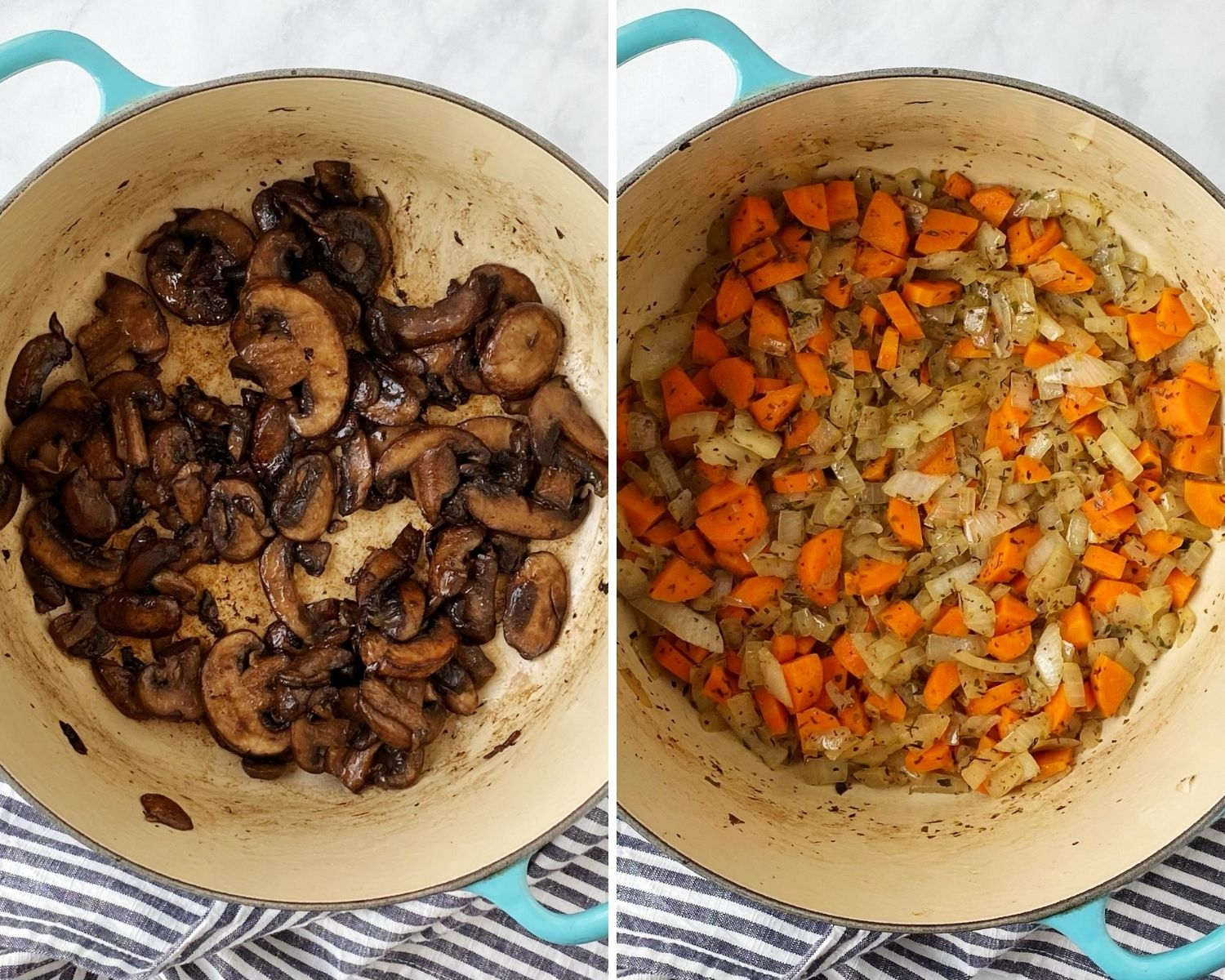 pot of sauteed mushrooms and pot of sauteed onions and carrots