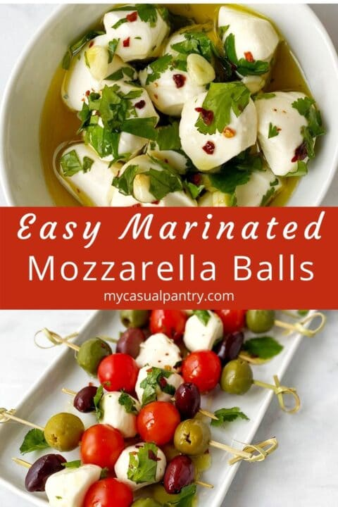 bowl of marinated cheese and mozzarella skewers