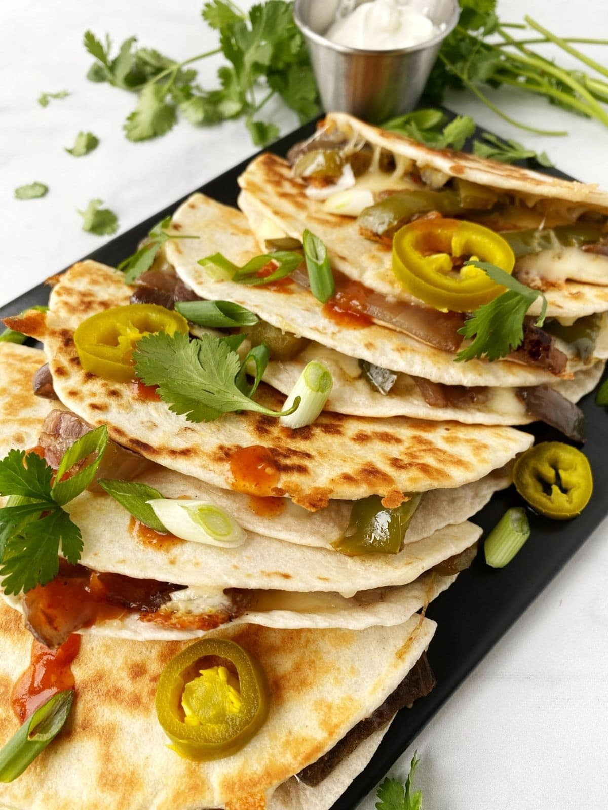 close up of grilled quesadillas