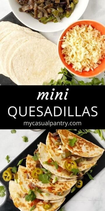 tortillas, veggies, and cheese; grilled quesadillas on a serving board