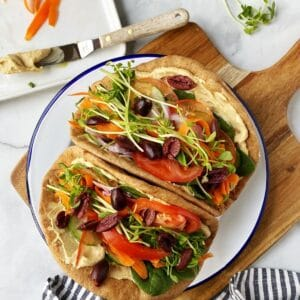 pita wraps on serving plate