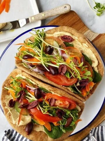 pita wraps on serving plate