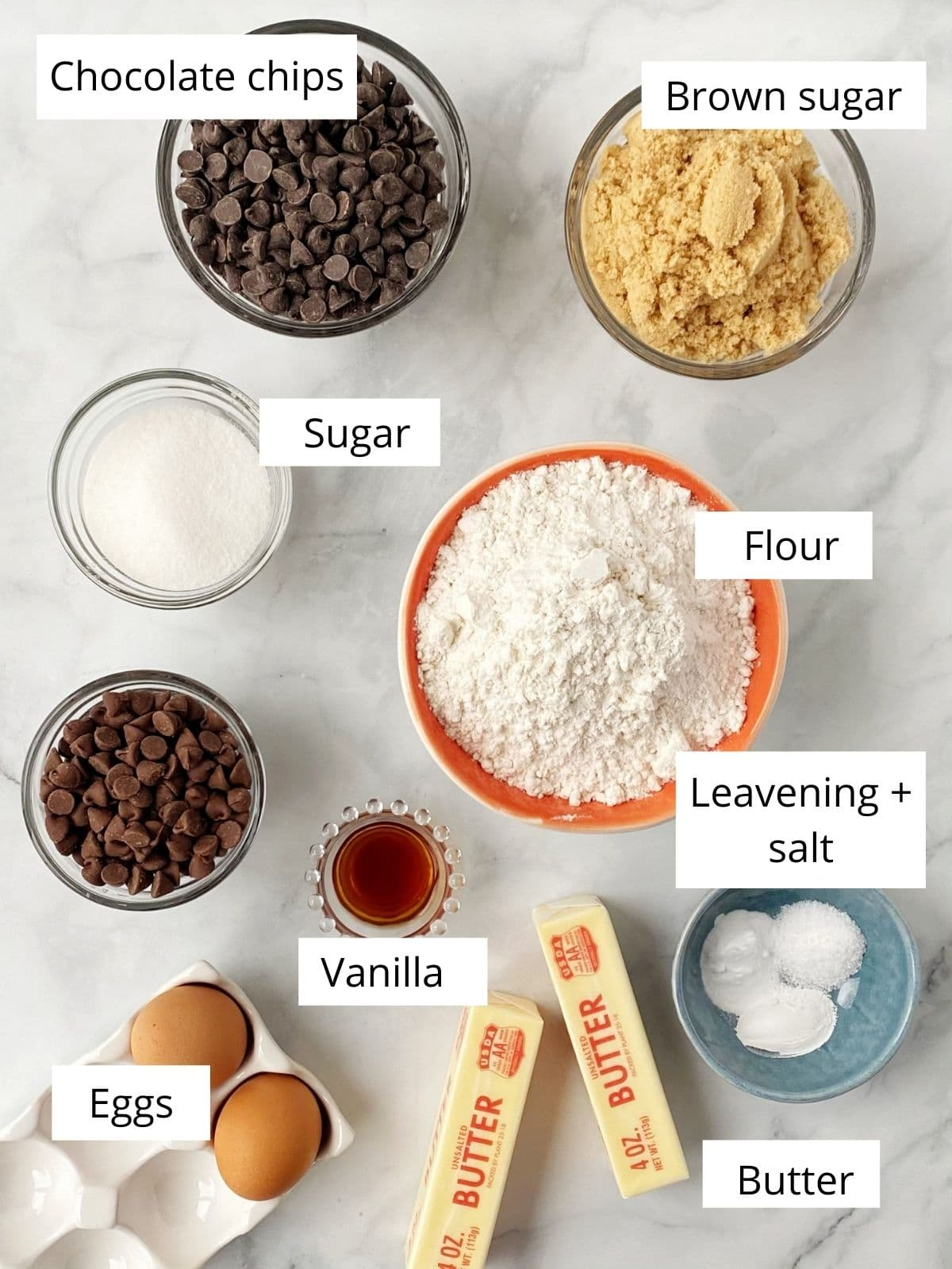 cookie ingredients - flour, sugar, butter, eggs, leavening, salt, vanilla, chocolate chips