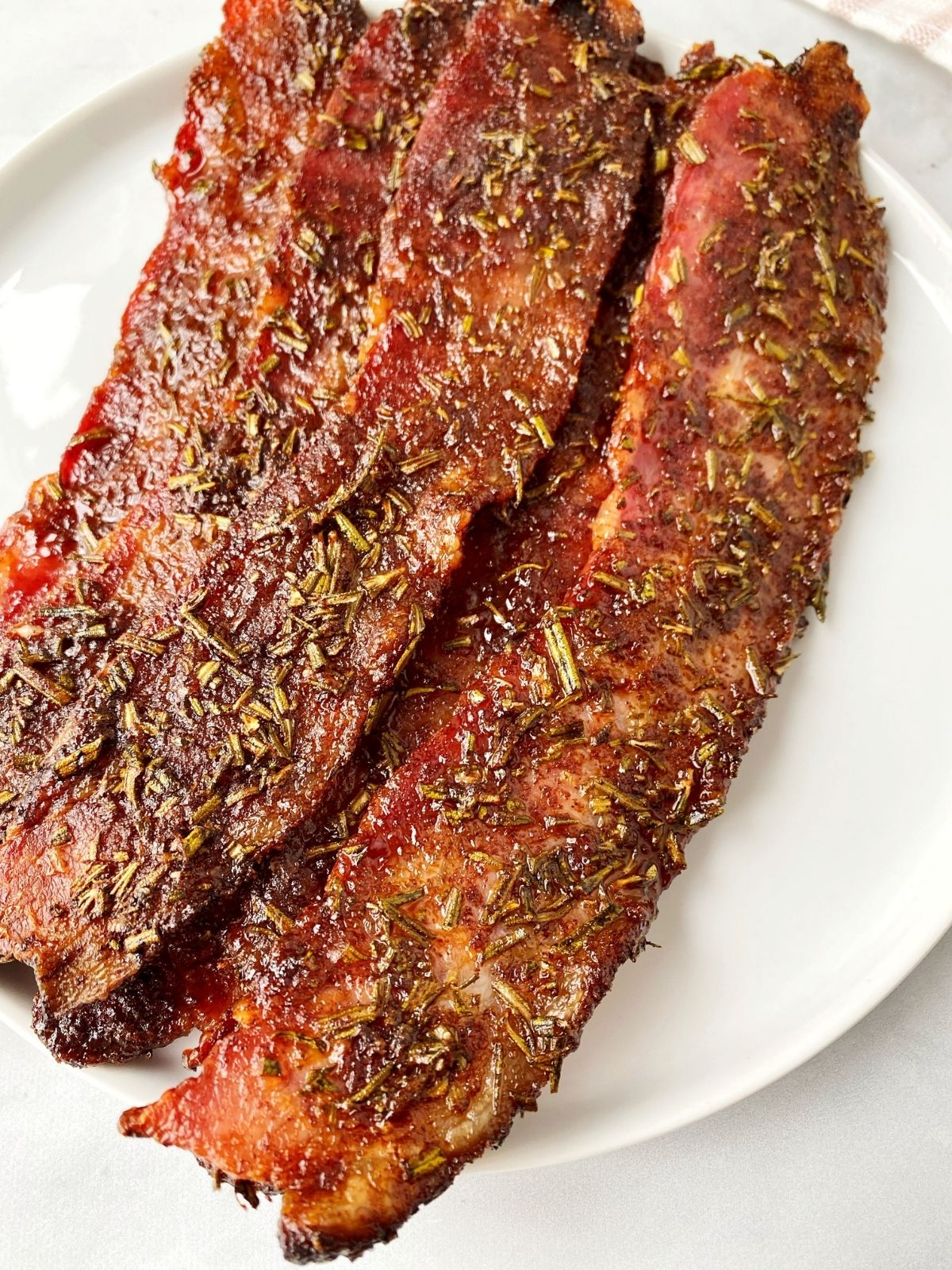 close up of oven-baked spiced bacon