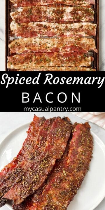 bacon on a pan and on a plate