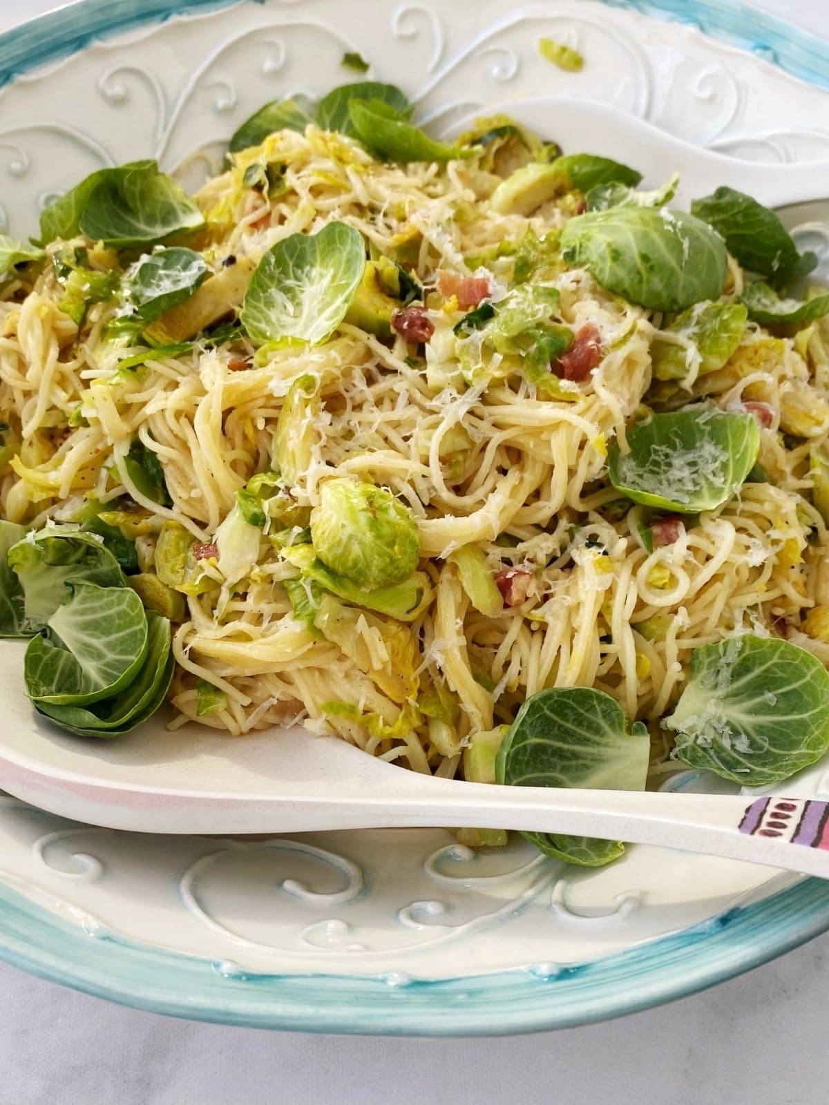 close up of pasta with Brussels and pancetta