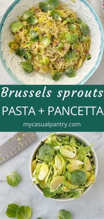 bowl of sliced sprouts and serving bowl of pasta