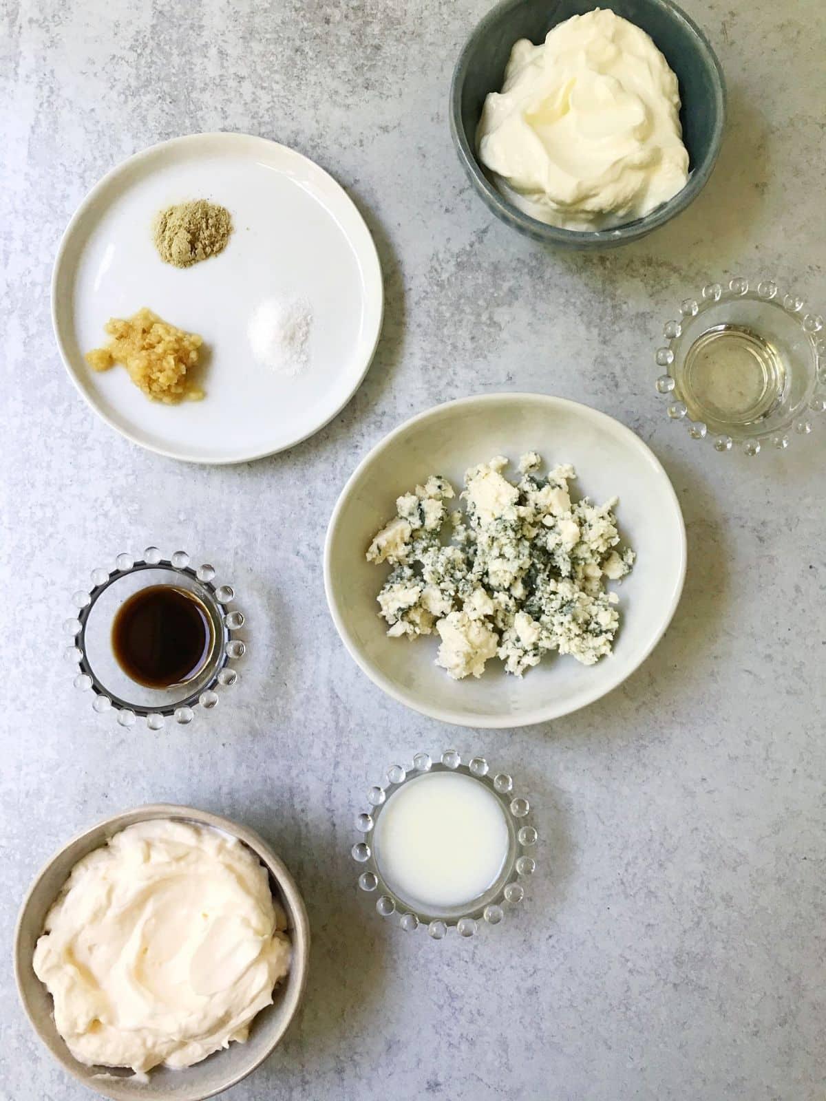 dressing ingredients - mayo, sour cream, vinegar, milk, Worcestershire, seasonings, garlic, blue cheese