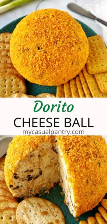 cheeseball on platter with crackers and ball with a wedge sliced