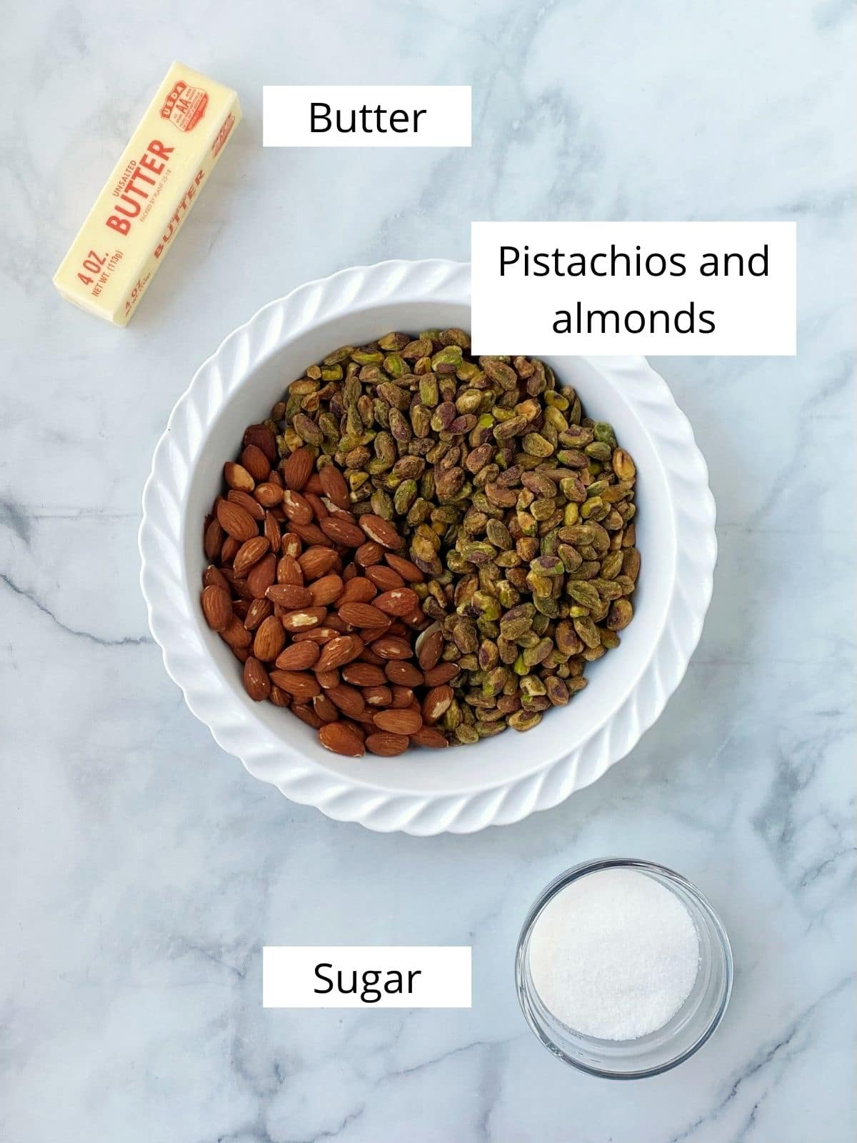 crust ingredients - nuts, butter, sugar