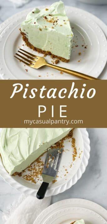 slice of pistachio pie and pie dish with pie server