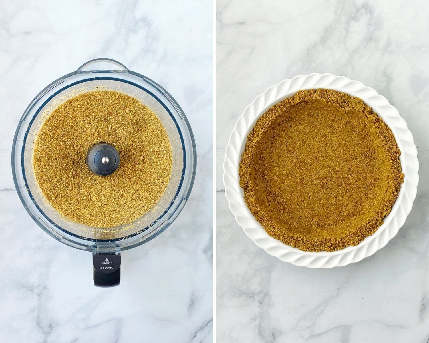 pistchios and almonds processed into crumbs and then formed into crust in the pie dish