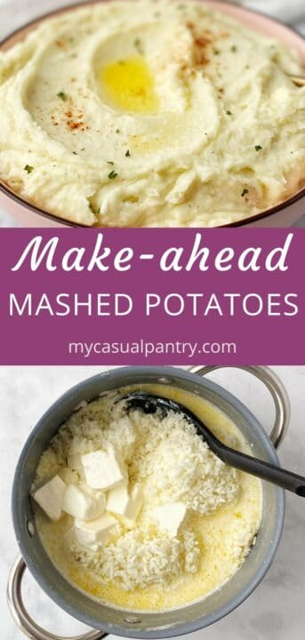 close up of potatoes in serving bowl, and pot of potatoes, cream, butter, and cream cheese