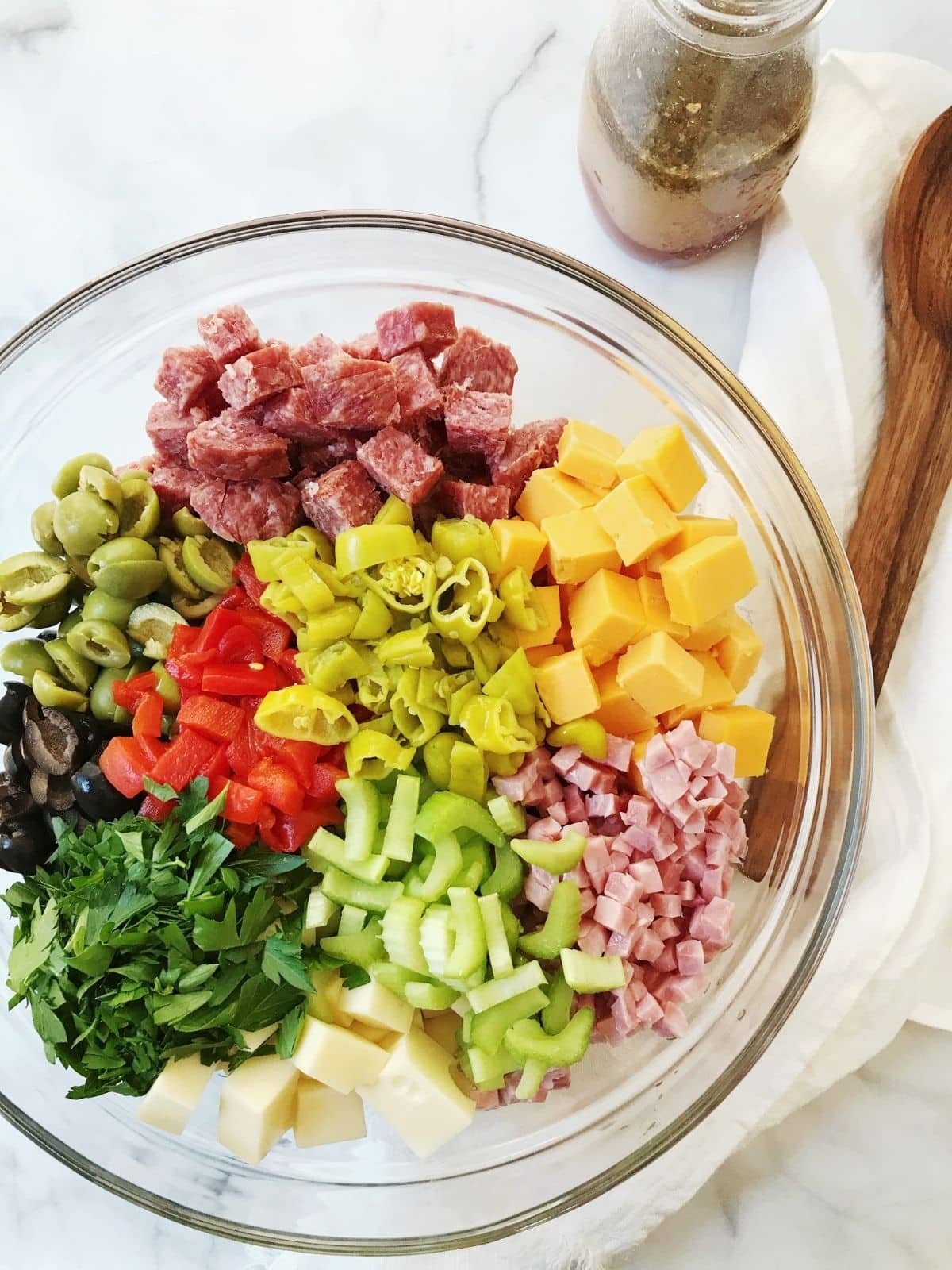 ingredients grouped in mixing bowl