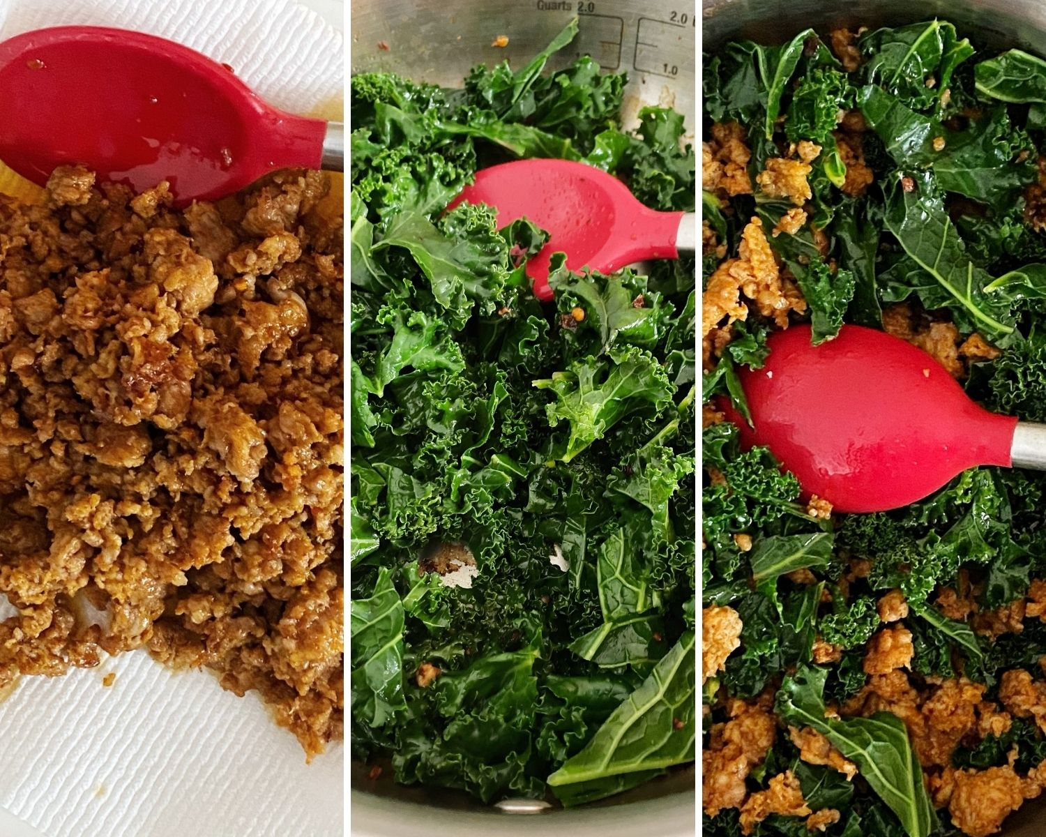 process shots of browned sausage, kale sauteing in pan, and kale and sausage mixed together