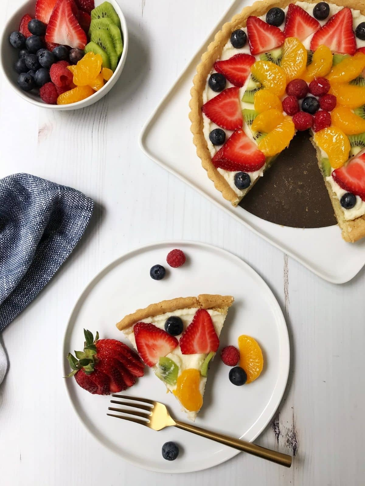 slice of fruit pizza on a plate with extra fruit in a bowl for garnish